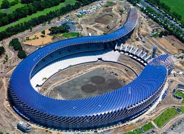Taiwan's National Stadium gets solar panel roof, hug from Ma Earth