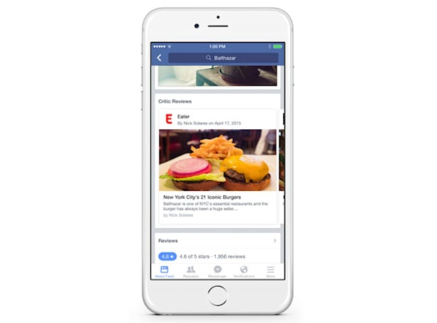Facebook tests critic reviews in your restaurant searches