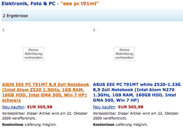 ASUS Eee PC T91MT multitouch tablet listed on Amazon.de for October 22nd