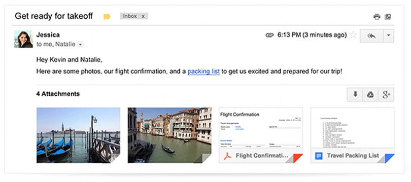 Latest Gmail update lets you preview and browse full attachments within emails, save files direct to Drive
