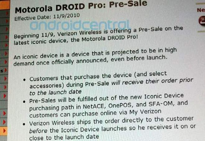 Motorola Droid Pro tipped for November 9 pre-sales through Verizon, November 18 launch