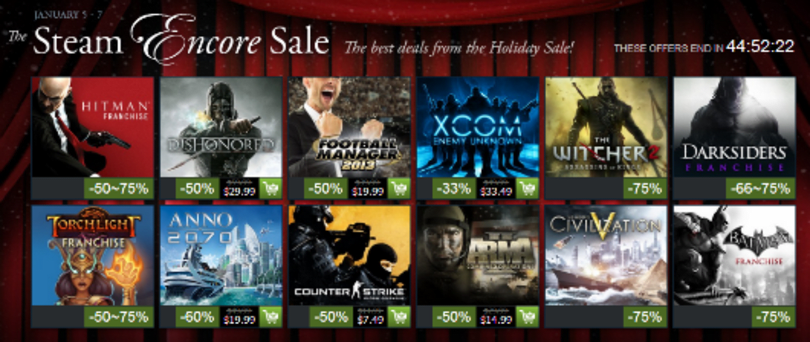 Steam's Holiday Encore Weekend reprises discounts on Dishonored, XCOM and more