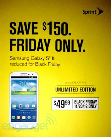 Sprint Black Friday ad reveals $50 Galaxy S III on November 23rd only