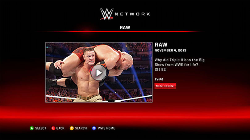 Xbox One pins WWE Network app