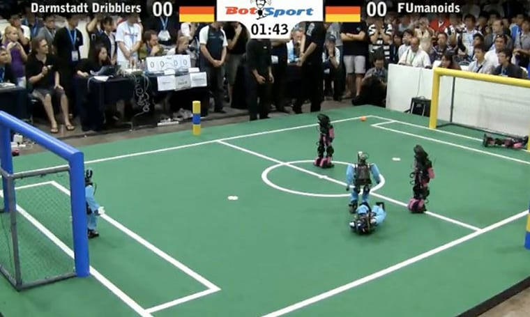 RoboCup Soccer 2010 finals show impressive realism by feigning injuries (video)