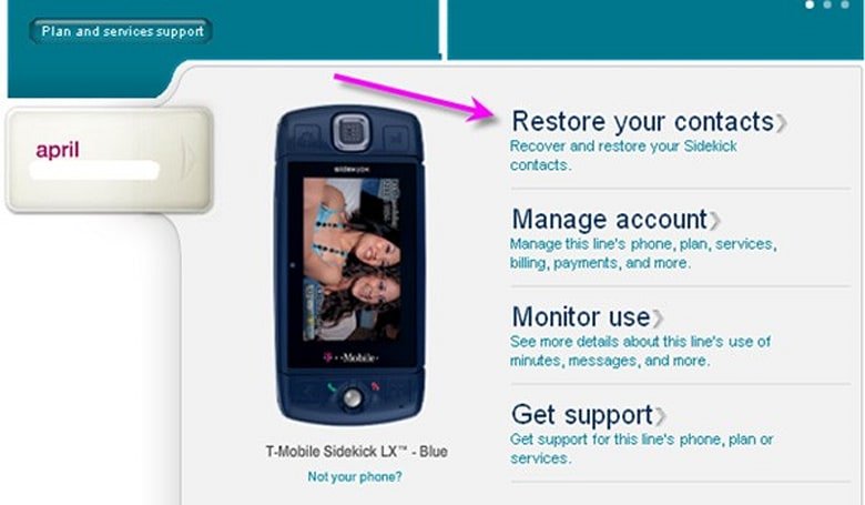 T-Mobile posts Sidekick contact recovery instructions