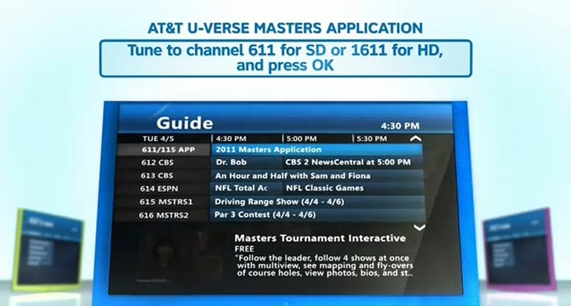 AT&T Masters Tournament coverage includes Multiview and mobile devices
