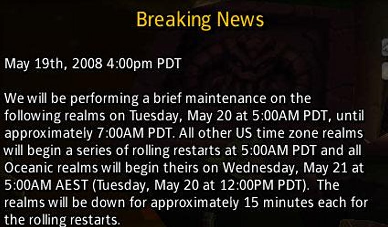 Restarts and maintenance for Tuesday, May 20th