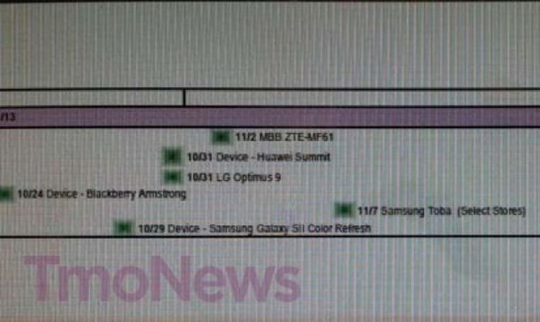 T-Mobile's holiday roadmap leaked: LG Optimus L9, HTC Windows Phone 8X spotted