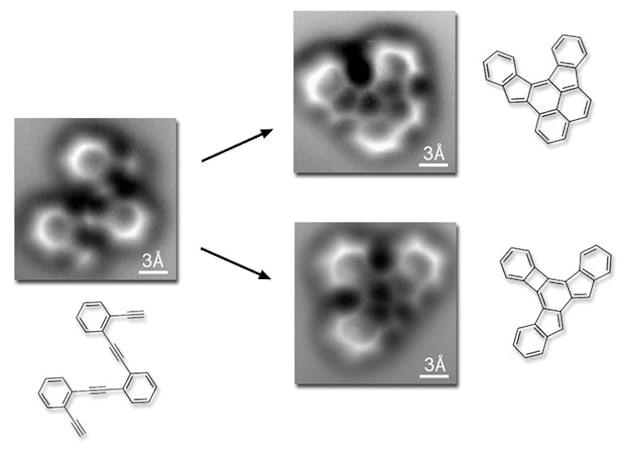 Scientists capture images of molecules forming atomic bonds