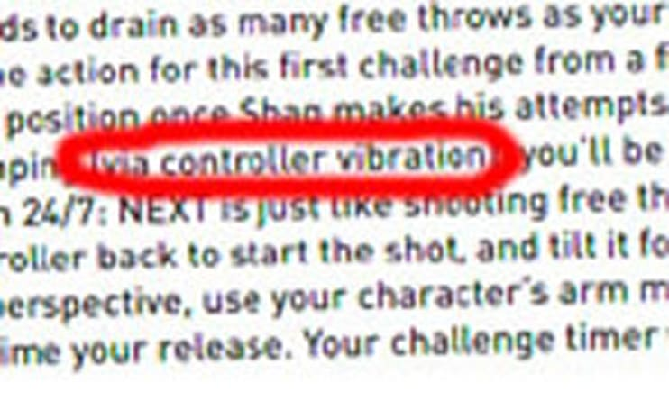 Typo: vibration function cited in PS3's NBA 2K7 booklet