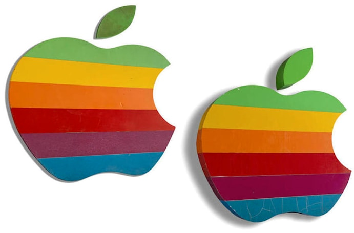 Original Apple rainbow signs from old Apple HQ for sale