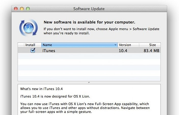 iTunes and iWork updated for Lion, add full-screen support, and resume