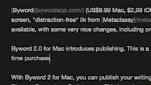 Byword 2.0 for Mac adds publishing, more