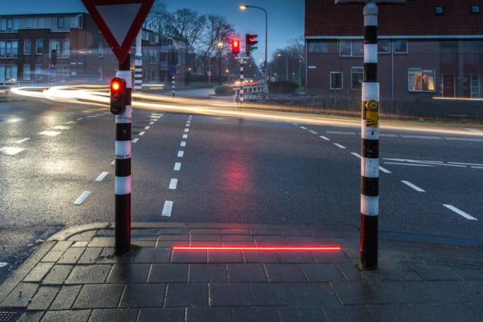 Dutch town adds 'Lightlines' to alert distracted pedestrians