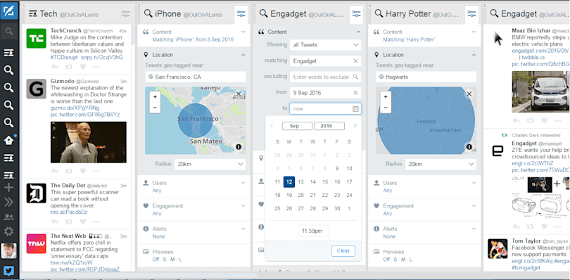 Tweetdeck adds location and date search filters