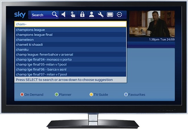 Sky+ receiver upgrade brings as-you-type TV search with unified results