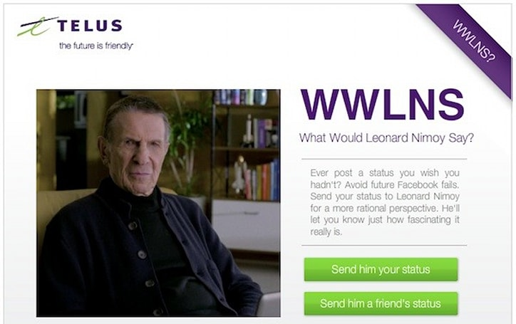 Telus recruits Leonard Nimoy to help you improve your Facebook status