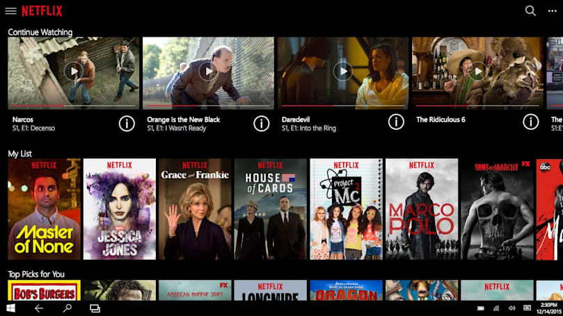 Netflix's Windows 10 app is at home on PCs and tablets