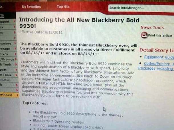 Verizon's BlackBerry Bold 9930 to launch August 15th?