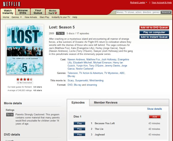 Netflix tweaks movie details, shrinks to a single page for disc and streaming access