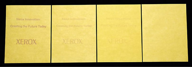 """Xerox shows off """"erasable paper,"""" hopes to make it available next year"""