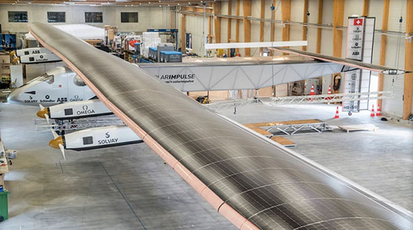 The Solar Impulse 2 could fly around the world without a drop of fuel
