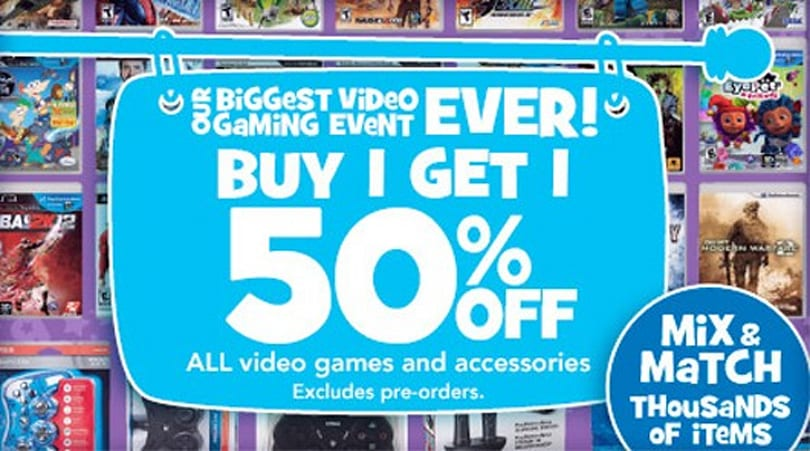 Toys R Us, Amazon do buy one, get one half-off on all video games