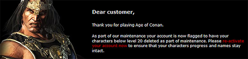 Funcom threatening to delete noob Age of Conan characters