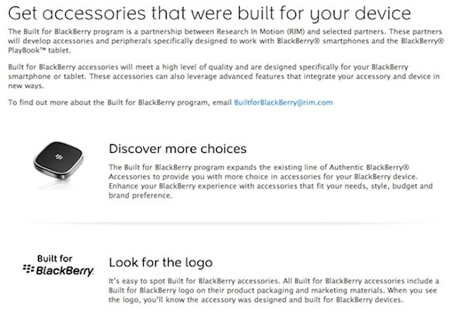 'Built for BlackBerry' program is ready to add another label to your BB and PlayBook accessories