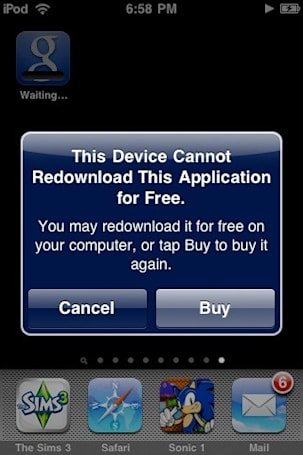 Apple to charge for redownloading apps from the App Store over the air?