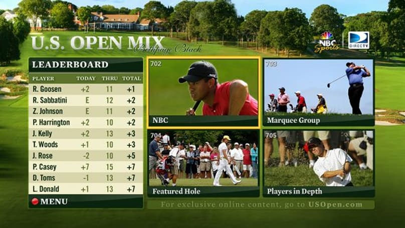 DirecTV's HD Mix extended to cover the entire U.S. Open weekend