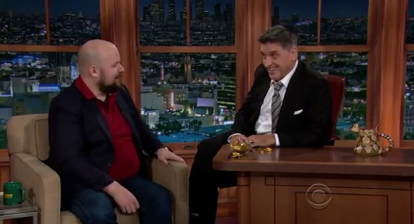 Notch eating chocolate and talking games on The Late Late Show
