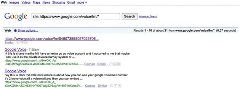 Google Voice voicemails appearing in public search results