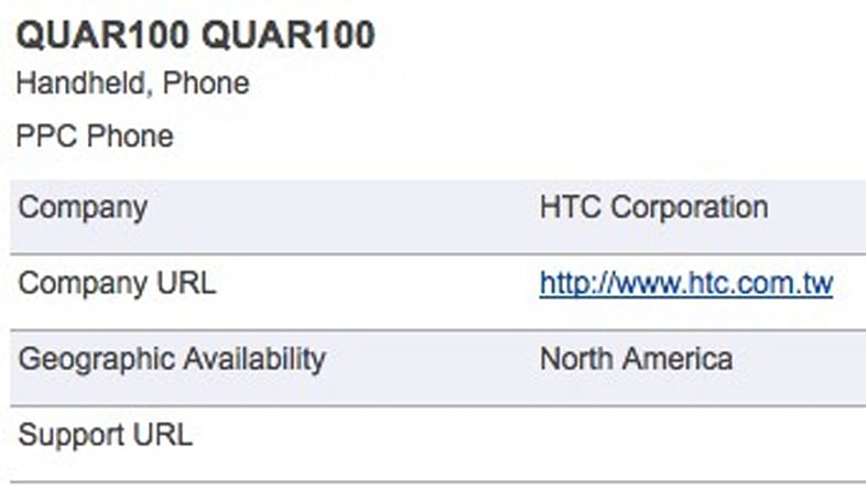 The HTC QUAR100: a North American exclusive?