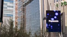 L.A. Live convention center / hotel includes gigantic, see-through outdoor screen