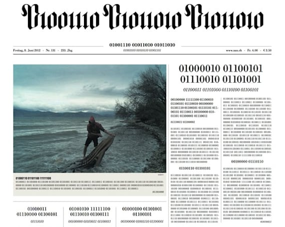 Visualized: Swiss newspaper goes digital, prints front page in binary