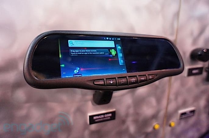 Android integration for car stereos and rear-view mirrors, hands-on (video)