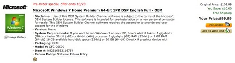 Windows 7 OEM pricing revealed by Newegg