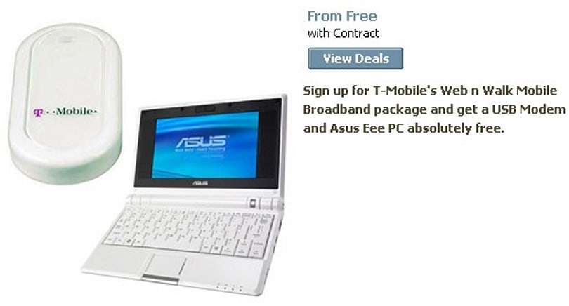 ASUS Eee PC given away with T-Mobile mobile broadband package