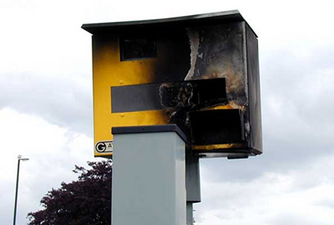 Angry drivers torching traffic cameras in England