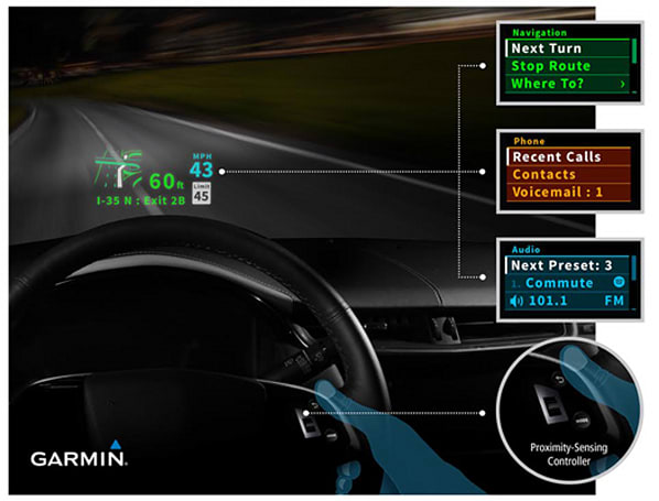 Garmin shows off HUD concept that brings infotainment to your windshield
