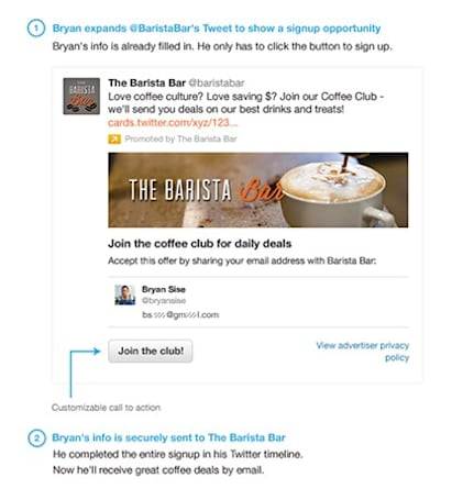 Twitter's Lead Generation Card gives brands your info with just the click of a button