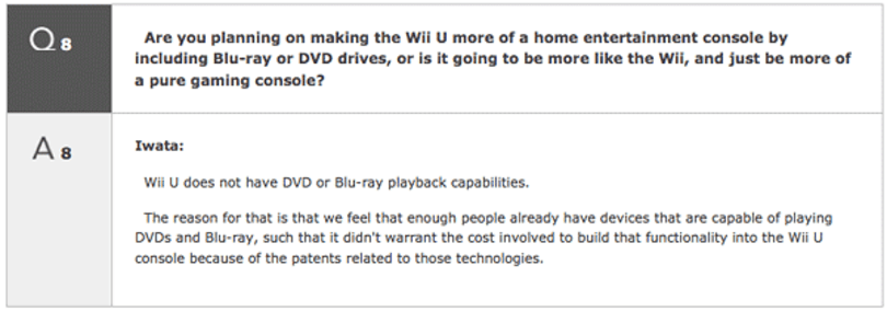 Wii U will not play DVDs or Blu-ray, Iwata says