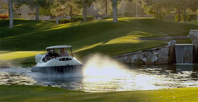 Oakley gives Bubba Watson a hovercraft to replace his golf cart (video)