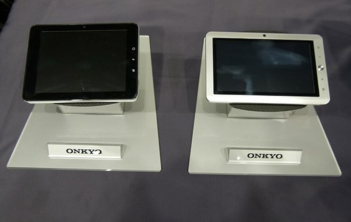 Onkyo tablet roadmap shows a selection of Android and Windows devices in a variety of sizes