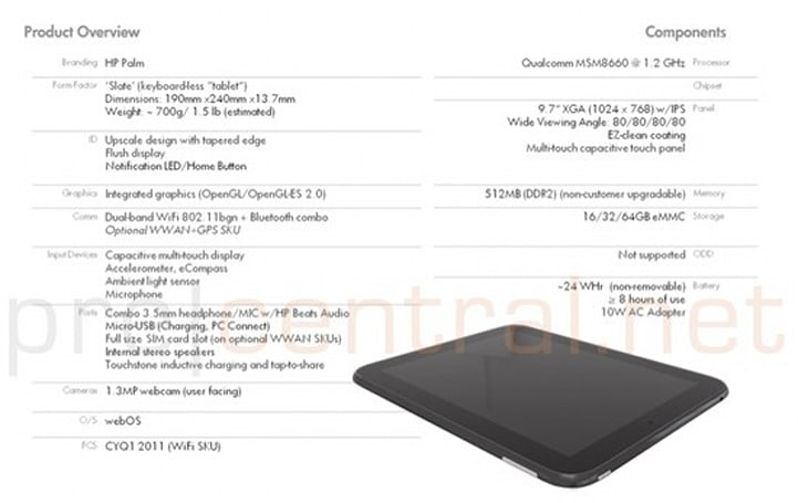 HP / Palm's 9.7-inch Topaz tablet to use 1.2GHz Qualcomm MSM8660, Adreno 220 GPU