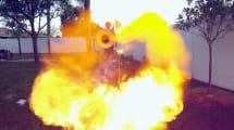 Hinterhofwissenschaftler baut Spiralflammenwerfer