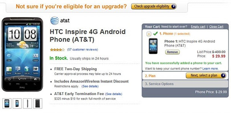 Amazon Wireless reduces Inspire 4G to $30, makes AT&T look downright miserly