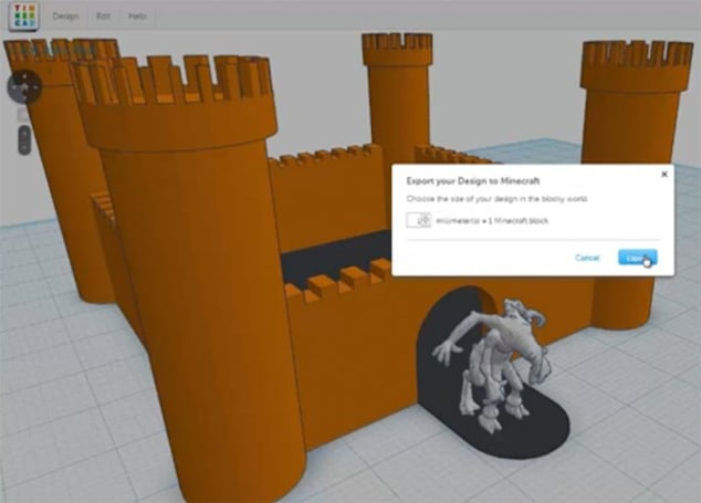 Tinkercad lets you export 3D designs into Minecraft
